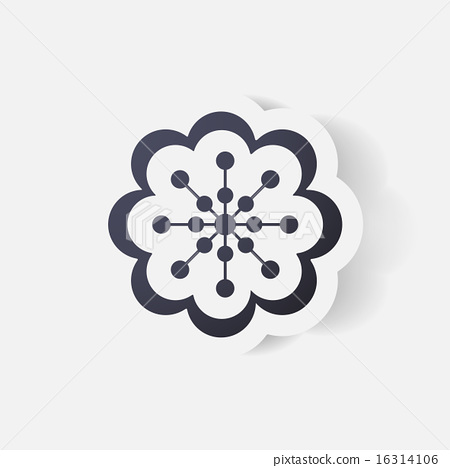 Realistic paper sticker: flowers. camomile 16314106