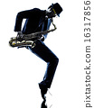man saxophonist playing saxophone player  silhouette 16317856