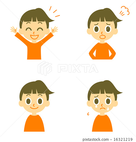 Stock Illustration: variation, facial expression, young girl