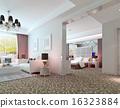 3D deluxe hotel suite interior rendering 16323884
