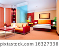 3d bedroom and living-room rendering 16327338