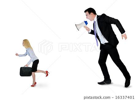 Business man screaming on megaphone 16337401