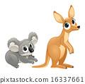 Funny marsupials, koala and kangaroo 16337661