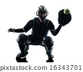 woman playing softball players silhouette isolated 16343701
