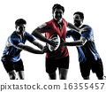 rugby men players silhouette 16355457