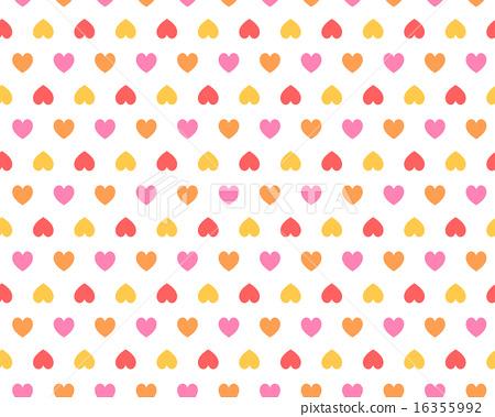 简单可爱多彩心图案花纹红色/暖色系(壁纸·背景图材料) 16355992