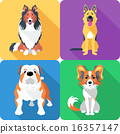 Set dog head icon flat design  16357147