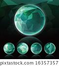 立體派背景_球體_深綠色 16357357