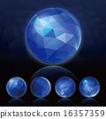 立體派背景_球形_深藍色的深藍色 16357359
