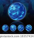 立體主義背景_球體_深藍色 16357434