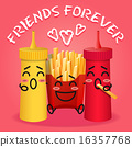 fried potatoes and ketchup and mustard cartoon 16357768