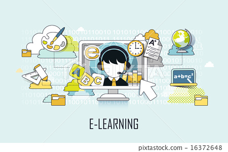 Stock Illustration: internet, study, school