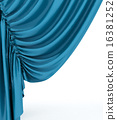 Blue theater curtain, background 16381252