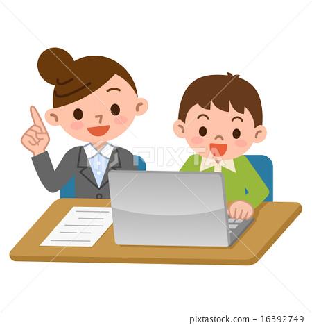 Computer teacher and student - Stock Illustration [16392749] - PIXTA