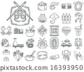 Line vector icons for japanese seafood menu 16393950