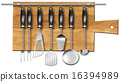 Set kitchen utensils on the chopping board 16394989