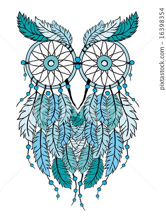 blue dreamcatcher owl, vector illustration 16398354