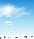 Blue sky background with tiny clouds. Vector illustration 16398875