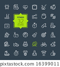 Outline web icon set - sport and fitness 16399011