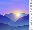 Abstract blue mountains landscape with lens flare nature background 16406446