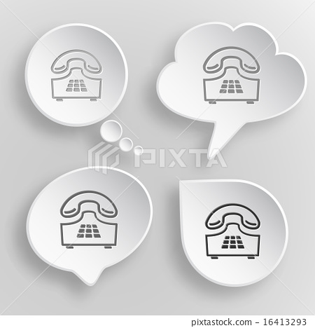 Push-button telephone. White flat vector buttons  16413293