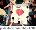 Composite image of people sitting around table drinking coffee 16424206