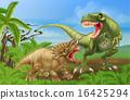 T Rex Triceratops Dinosaur Fight Scene 16425294