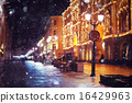city __pedestrian street night city lights 16429963