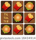 Tic-Tac-Toe of Hamburger and Fried Potatoes 16434914