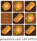 Tic-Tac-Toe of Hot Dog and Hamburger 16434915