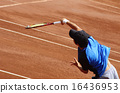 Tennis on clay court [Serve] 16436953