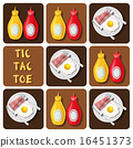 Tic-Tac-Toe of bacon and fried egg and seasoning 16451373