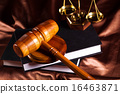Judges wooden gavel and law Scales 16463871