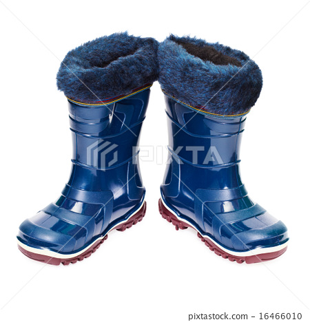 Pair of small rubber boots with artificial fur 16466010