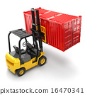Forklift handling the cargo shipping container box 16470341