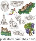 Travel - Liechtenstein. Hand drawings on white. 16472145