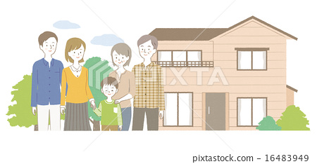3 generations family and house illustration 16483949
