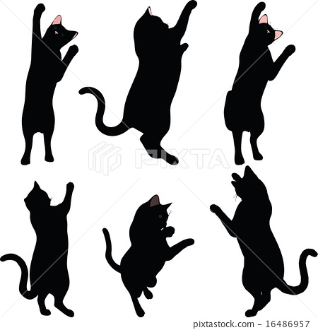 cat silhouette in reach pose  stock illustration