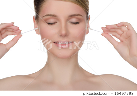 charming woman cleans ears with cotton sticks 16497598