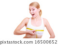 Fitness woman fit girl with measure tape measuring her bust 16500652