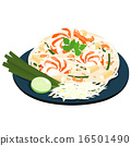 Fried noodles popular thai food vector 16501490