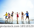 Diverse Beach Summer Friends Fun Running Concept 16510320