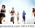 Diverse Beach Summer Friends Fun Running Concept 16514362
