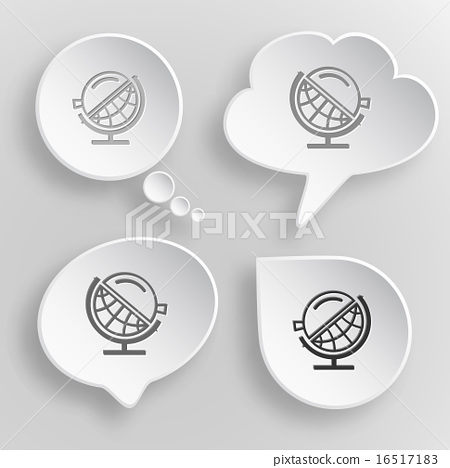 Globe and loupe. White flat vector buttons  16517183