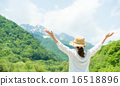 여성, 심호흡, 등산 16518896