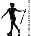 woman playing softball players silhouette isolated 16518938