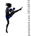 woman boxer boxing kickboxing silhouette isolated 16518974