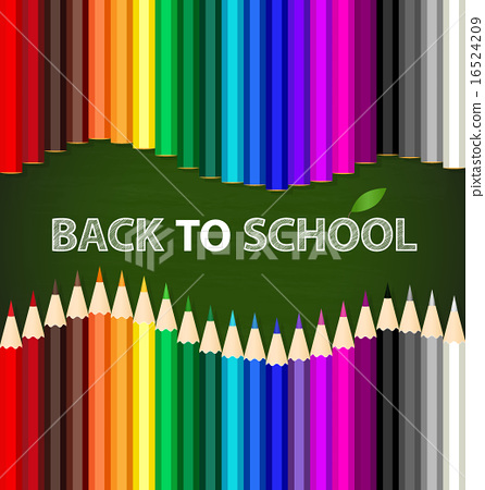 Welcome back to school with Color pencils background, vector ill 16524209
