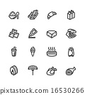 food, set, icon 16530266