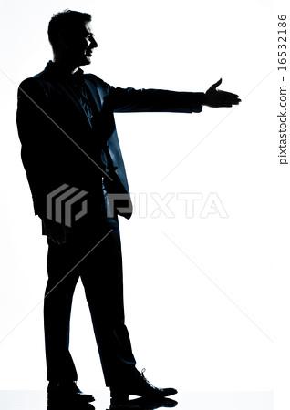 silhouette man full length handshake profile  16532186
